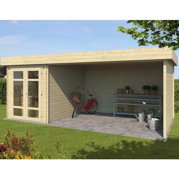 Abri de jardin en bois + terrasse hestia 17,2 m² - 28 mm