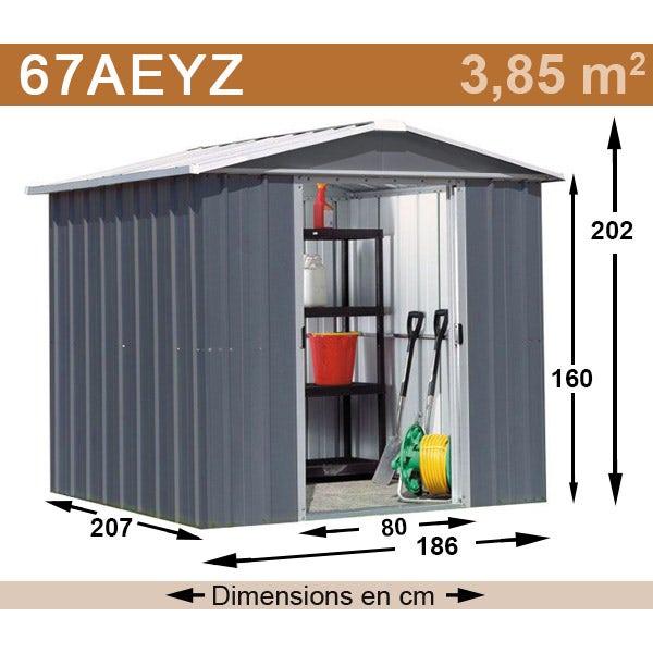Abri de jardin métal yardmaster 3,85 m² couleur gris anthracite + kit d'ancrage inclus