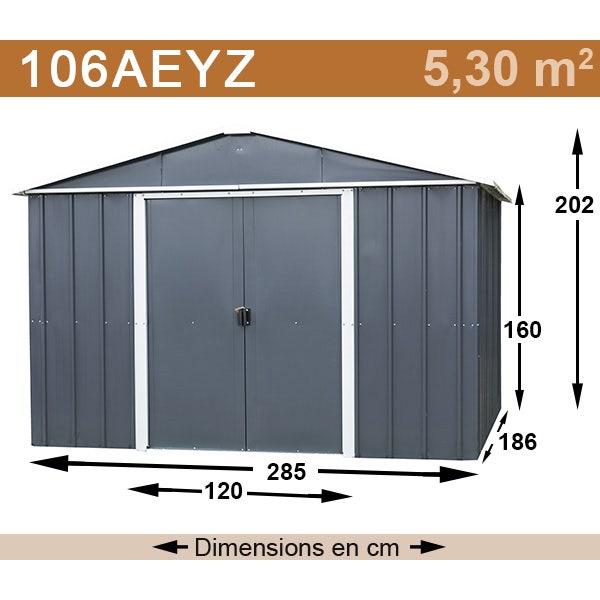 Abri de jardin métal yardmaster 5,30 m² couleur gris anthracite + kit d'ancrage inclus
