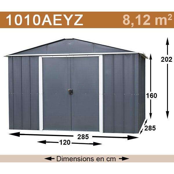 Abri de jardin métal yardmaster 8,12 m² couleur gris anthracite + kit d'ancrage inclus