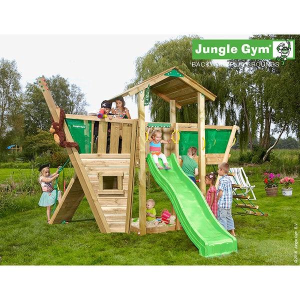 Aire de jeux en bois jungle gym ilangä + toboggan - 11 enfants