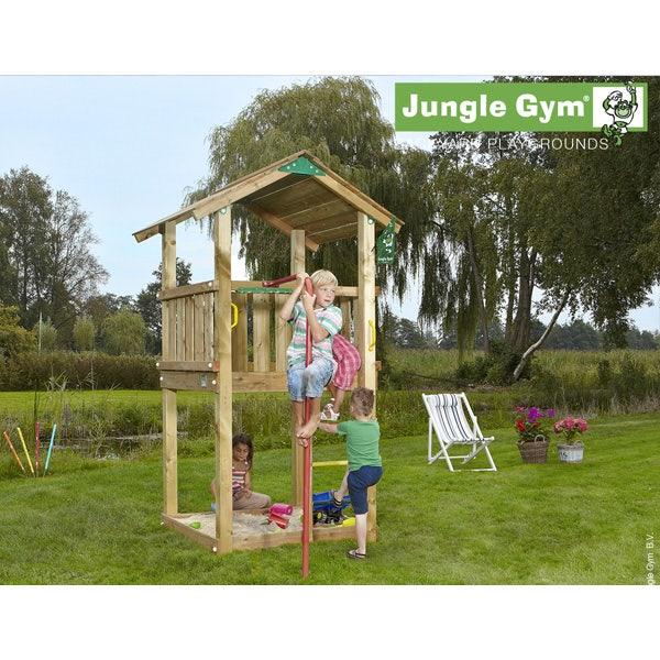 Aire de jeux en bois jungle gym maja + barre de pompier - 7 enfants