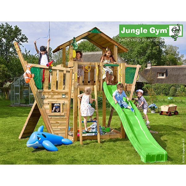Aire de jeux en bois jungle gym tangata + toboggan - 16 enfants