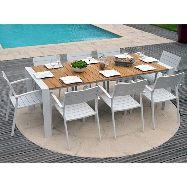 Ensemble Table grenada et chaises torino aluminium et teck - 8 personnes